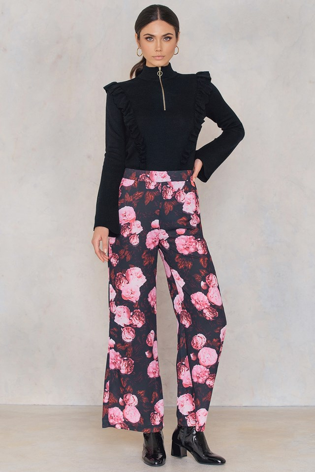 High Waist Flared Pants Black/Pink Print