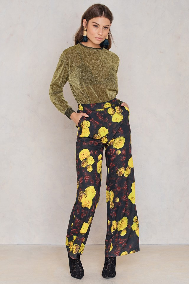 High Waist Flared Pants Red/Yellow Print