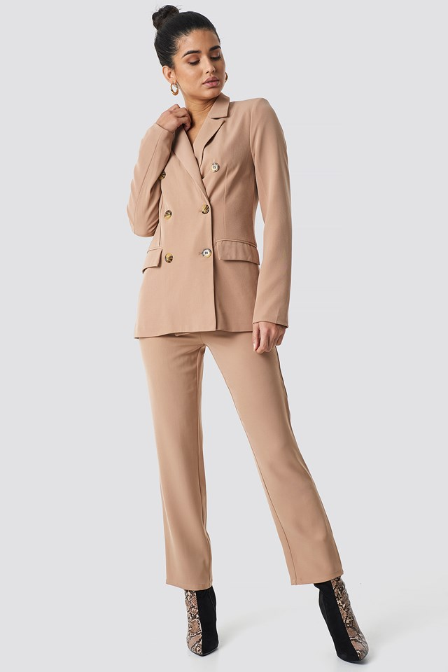 High Waist Suit Trousers Beige