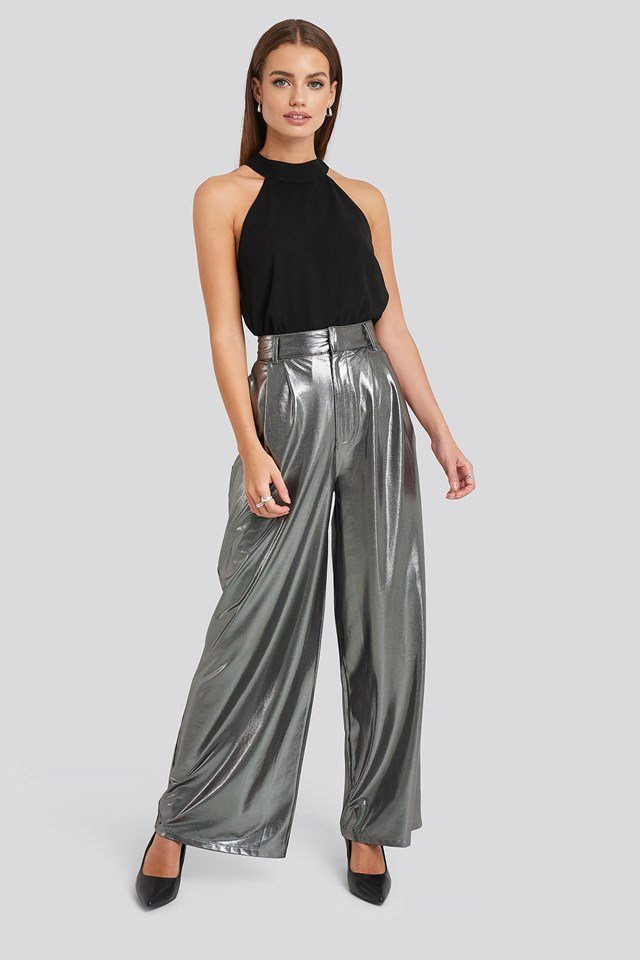 High Waist Front Pleat Wide Leg Pants Silver