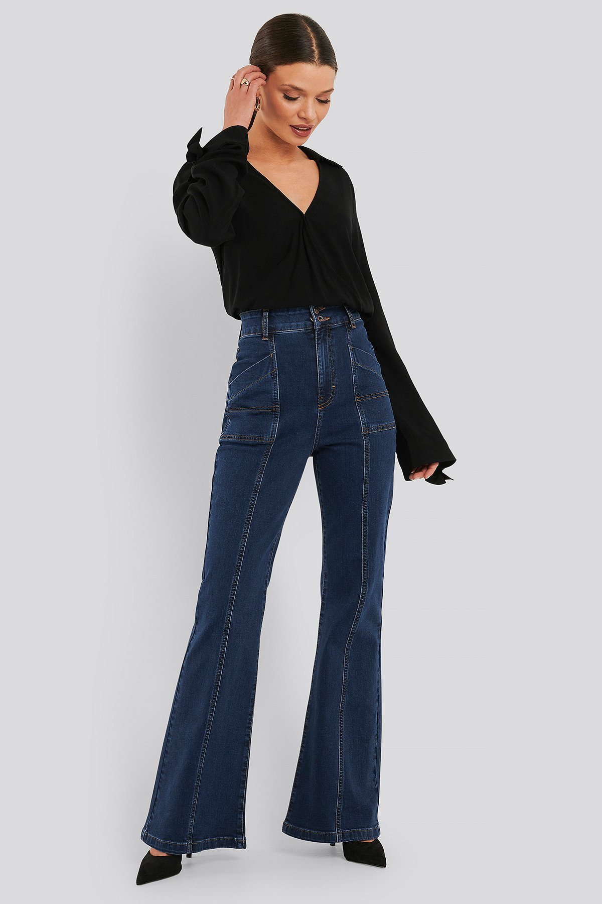 na-kd trend -  High Waist Front Seam Flare Jeans - Blue