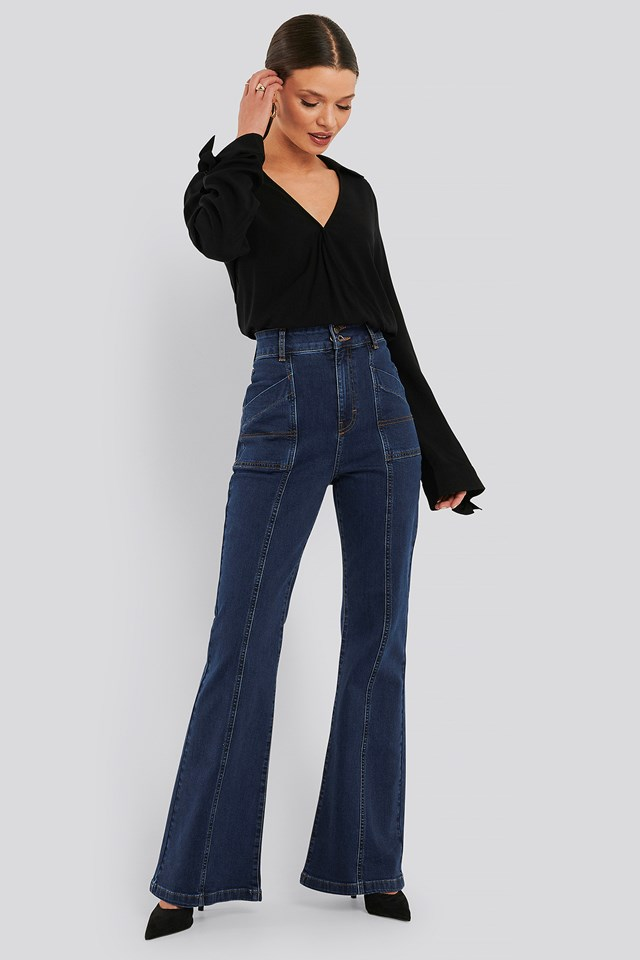 High Waist Front Seam Flare Jeans Mid Blue Wash