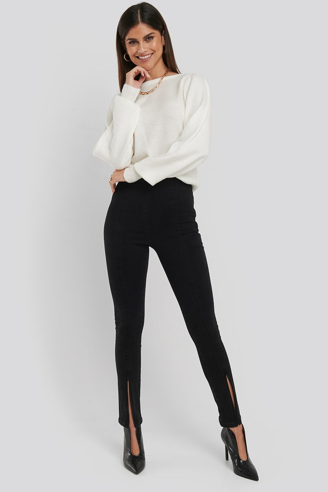 High Waist Front Slit Skinny Jeans Black
