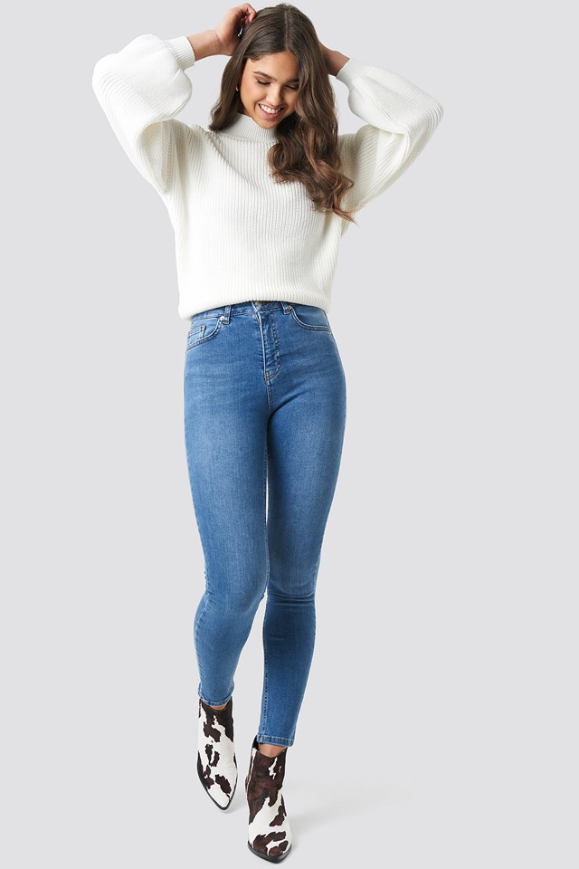 Skinny High Waist Jeans Mid Blue