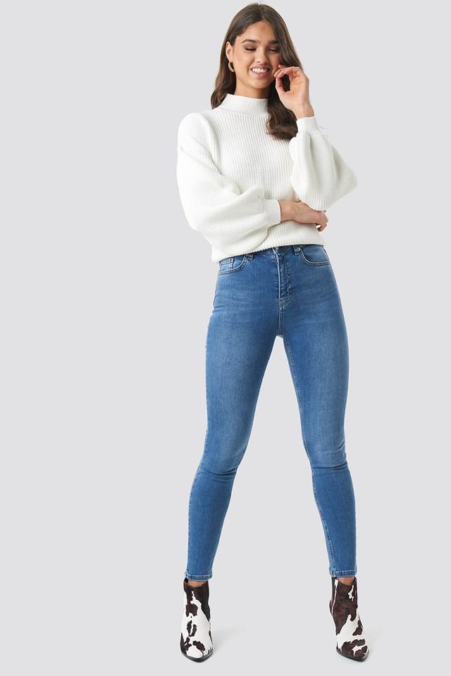 Skinny High Waist Jeans Mid Blue