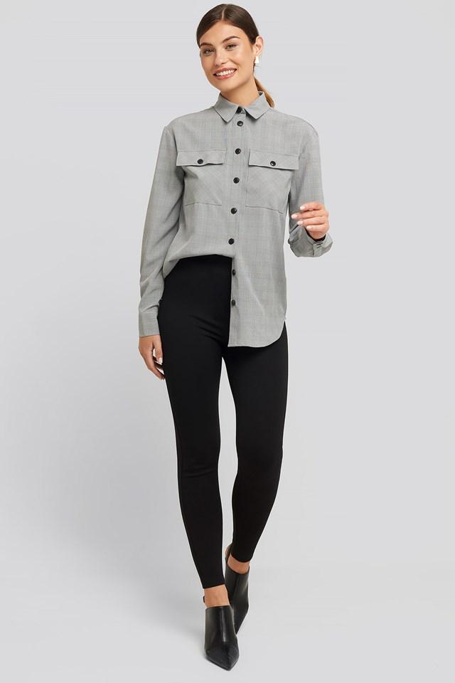 High Waist Jersey Pants Black