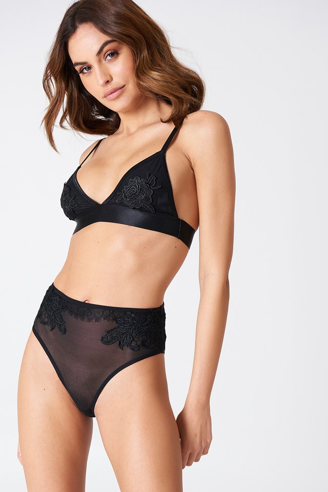 High Waist Lace Detail Panty Black