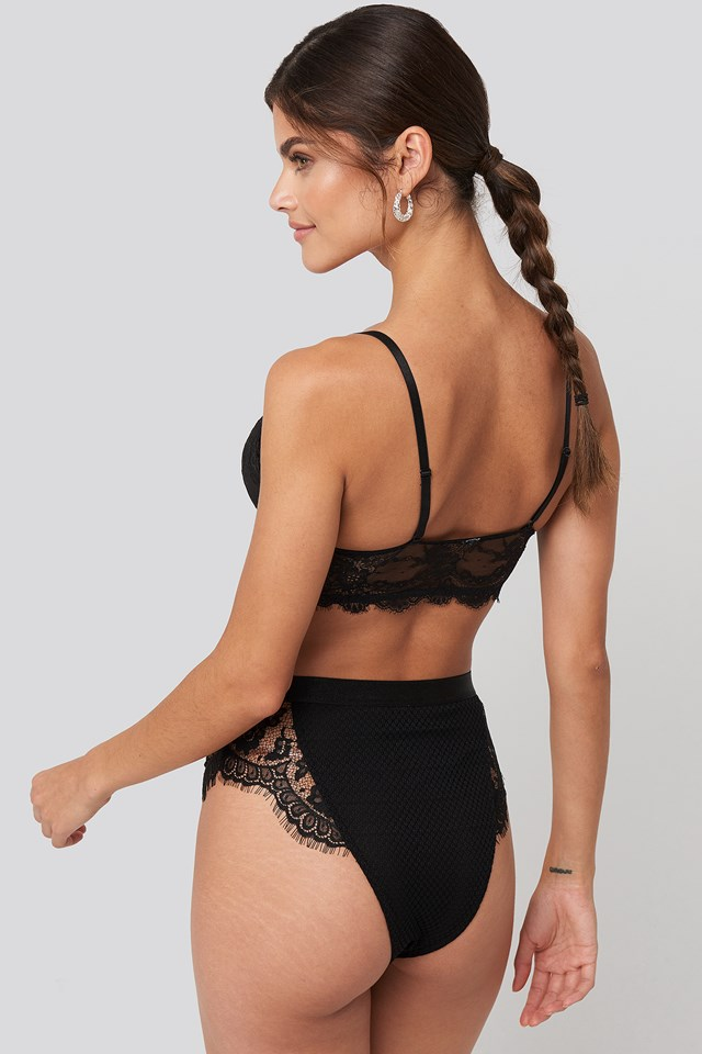 High Waist Lace Panty Black