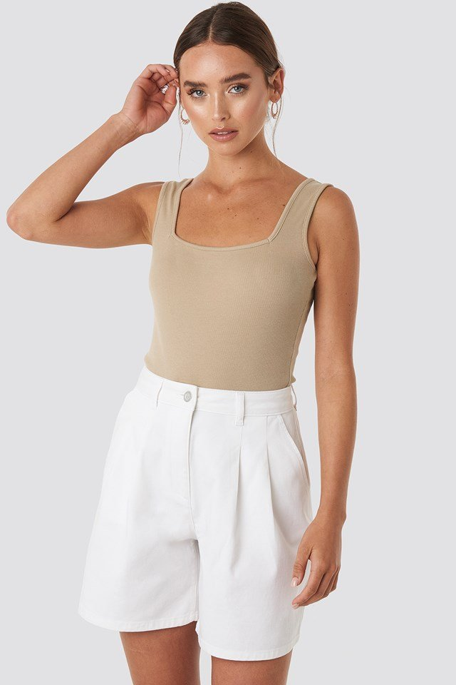 High Waist Loose Fit Shorts White