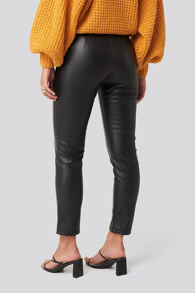 High Waist PU Pants Black