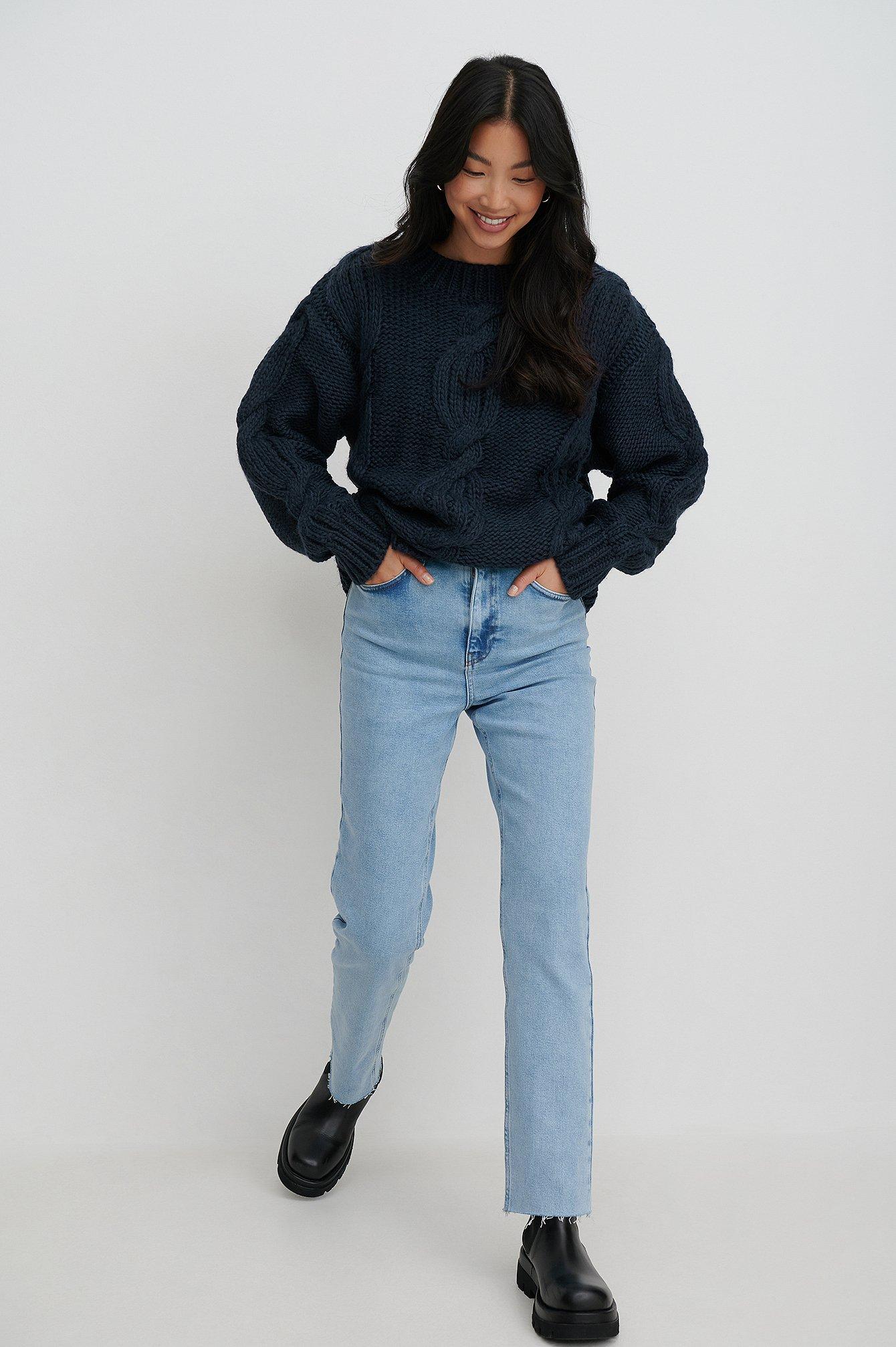 Rianne Meijer x NA-KD Økologiske denim med høj talje og rå kant - Blue