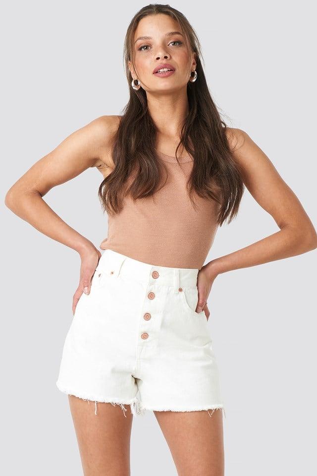 High Waist Raw Hem Denim Shorts Off White