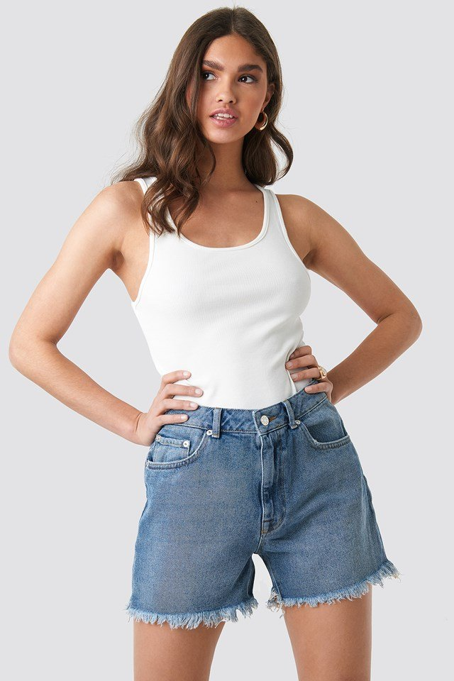 High Waist Raw Hem Denim Shorts Mid Blue