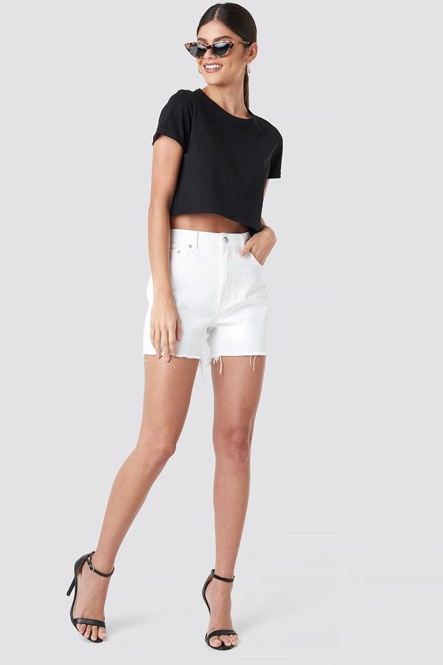 High Waist Raw Hem Denim Shorts White