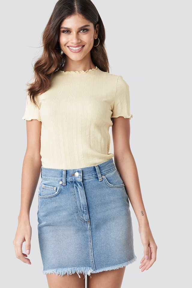 High Waist Raw Hem Denim Skirt Light Blue