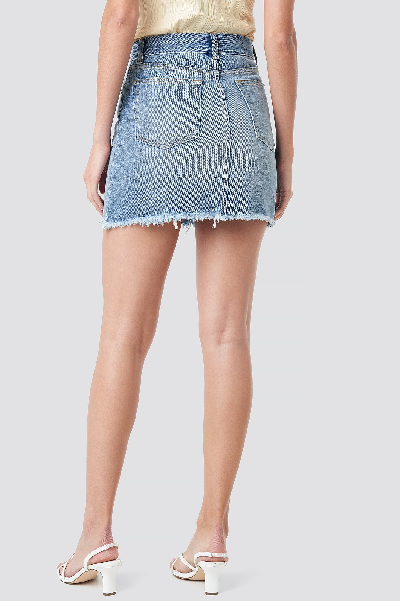 High Waist Raw Hem Denim Skirt NA-KD.COM