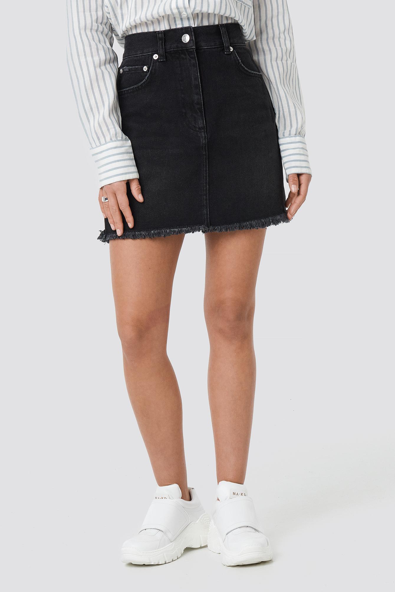 High Waist Raw Hem Denim Skirt NA-KD.COM