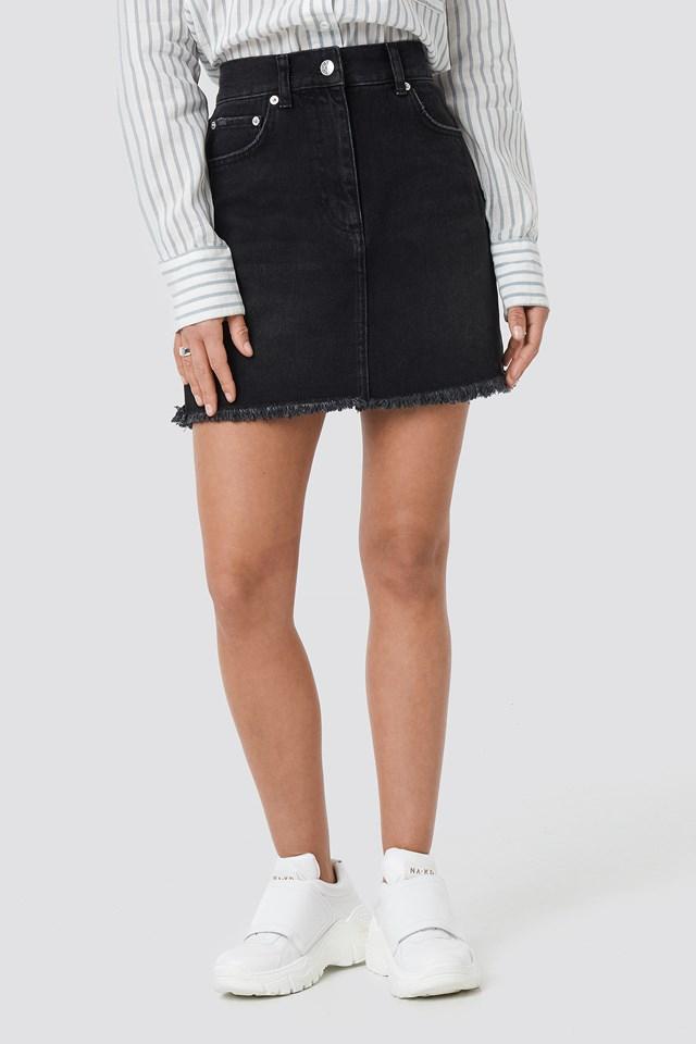 High Waist Raw Hem Denim Skirt Black Wash