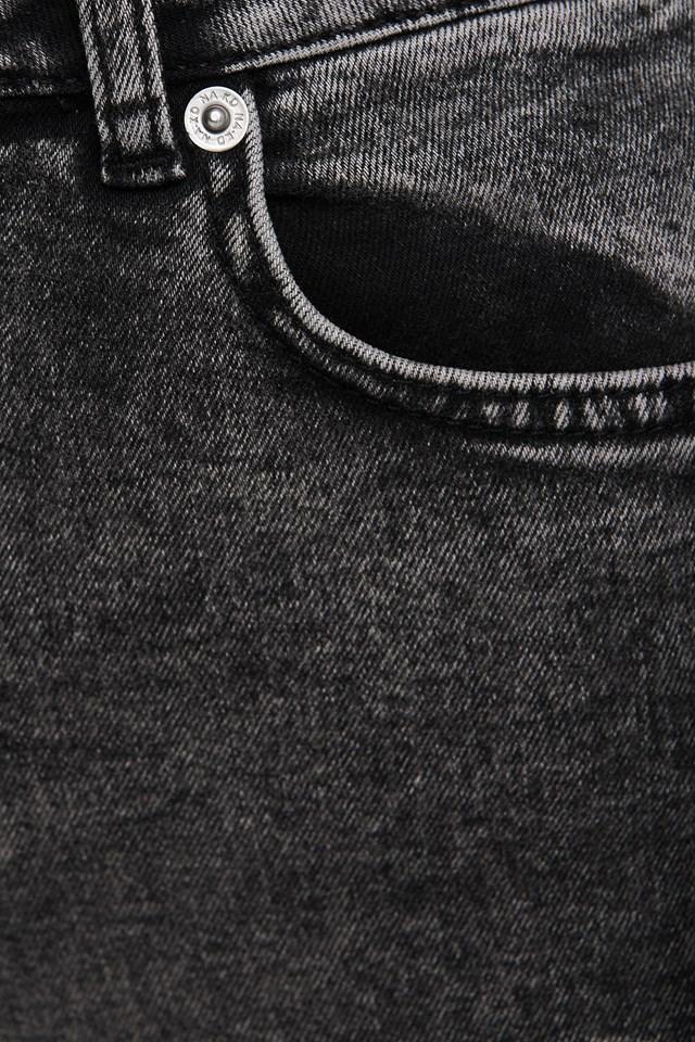 High Waist Raw Hem Skinny Jeans Black