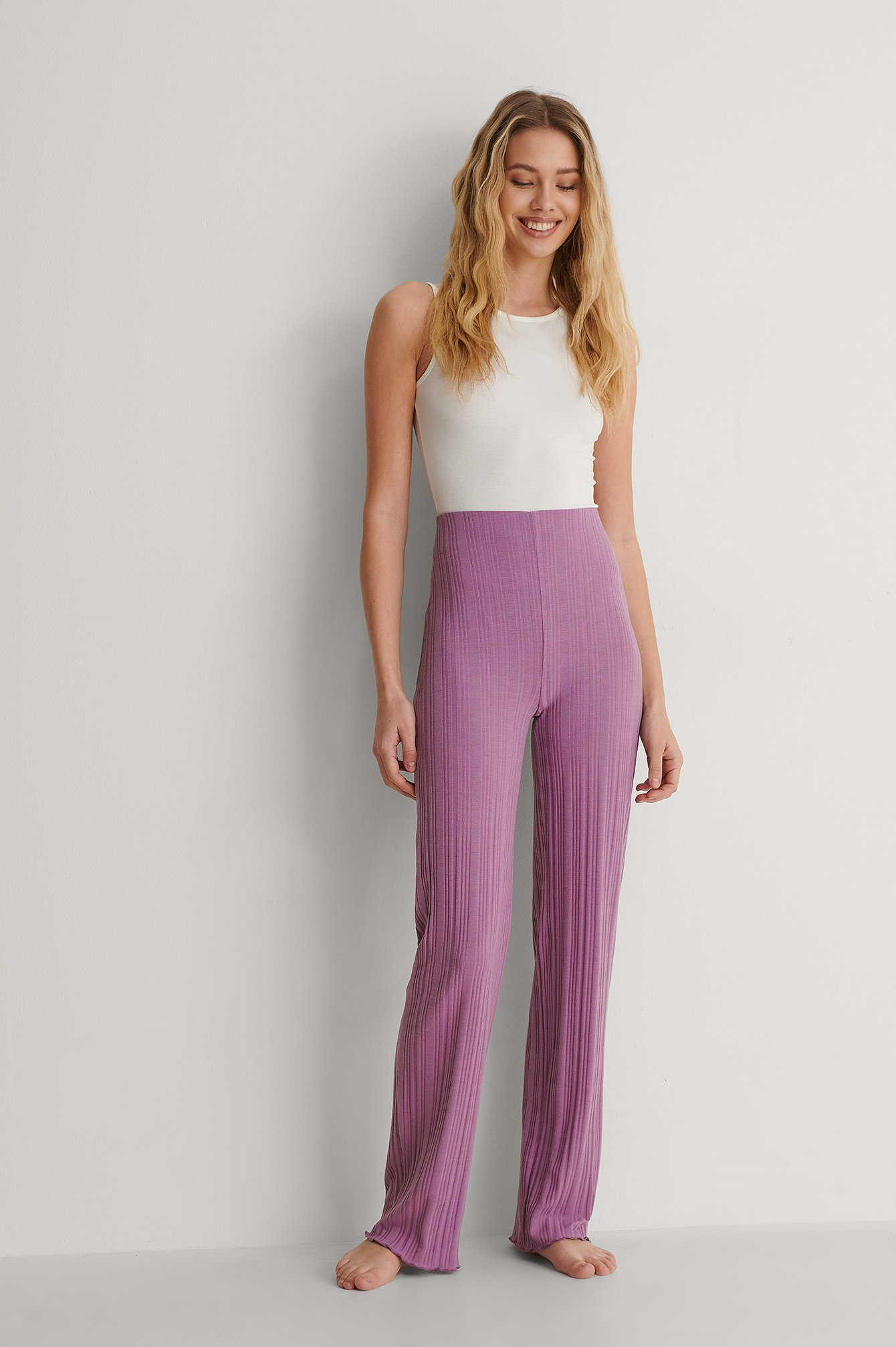 na-kd -  Recycelt Gerippte Hose Mit Hoher Taille - Purple