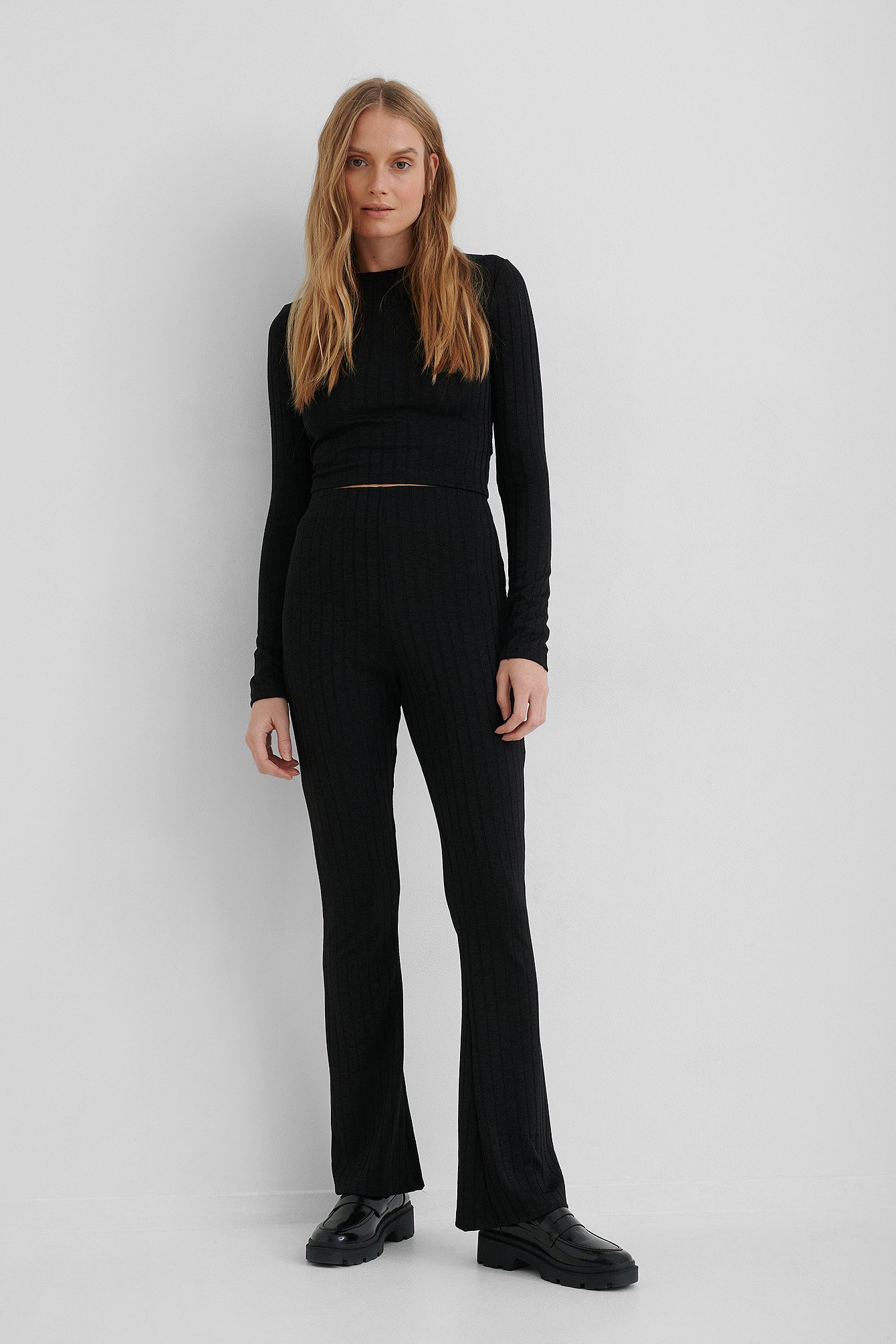 Black High Waist Ribbed Flare Pants