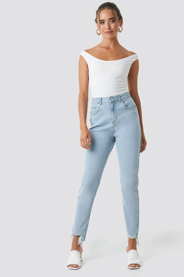 High Waist Ripped Ankle Mom Jeans Light Blue Wash