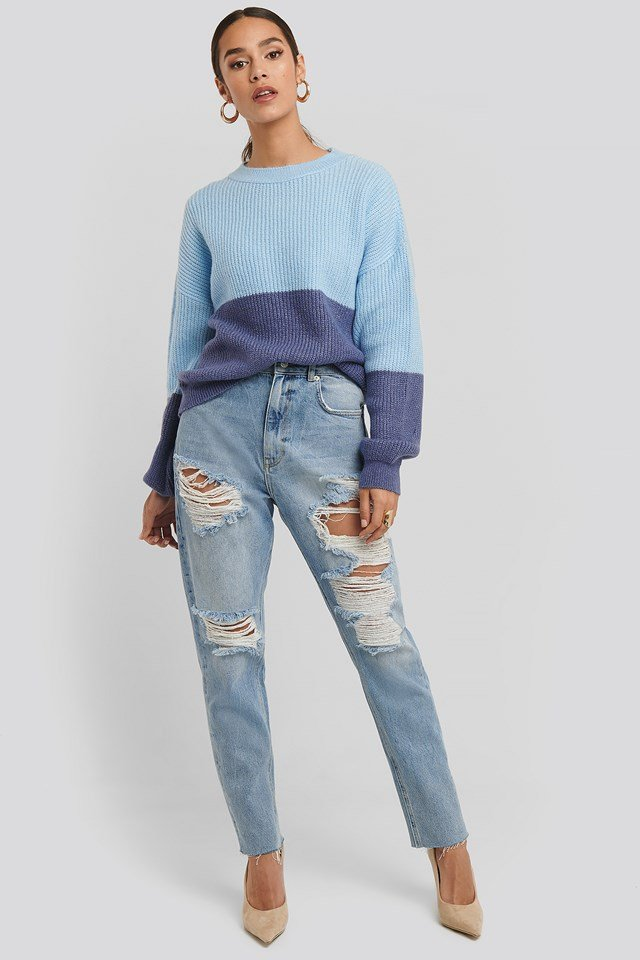 High Waist Ripped Mom Jeans Light Blue Wash