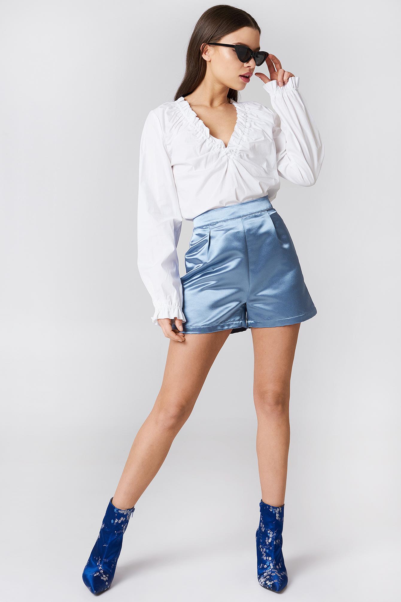 High Waist Satin Shorts NA-KD.COM
