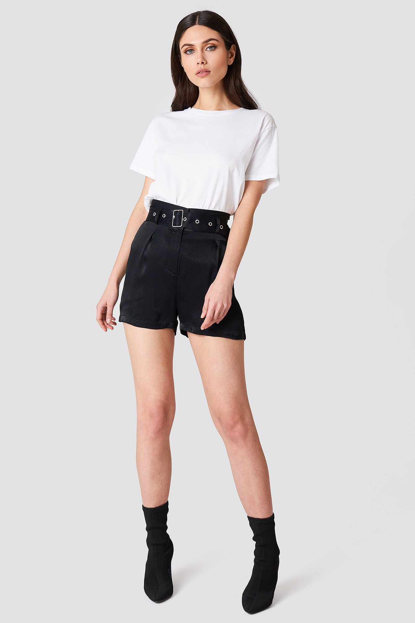 High Waist Belted Satin Shorts NA-KD.COM