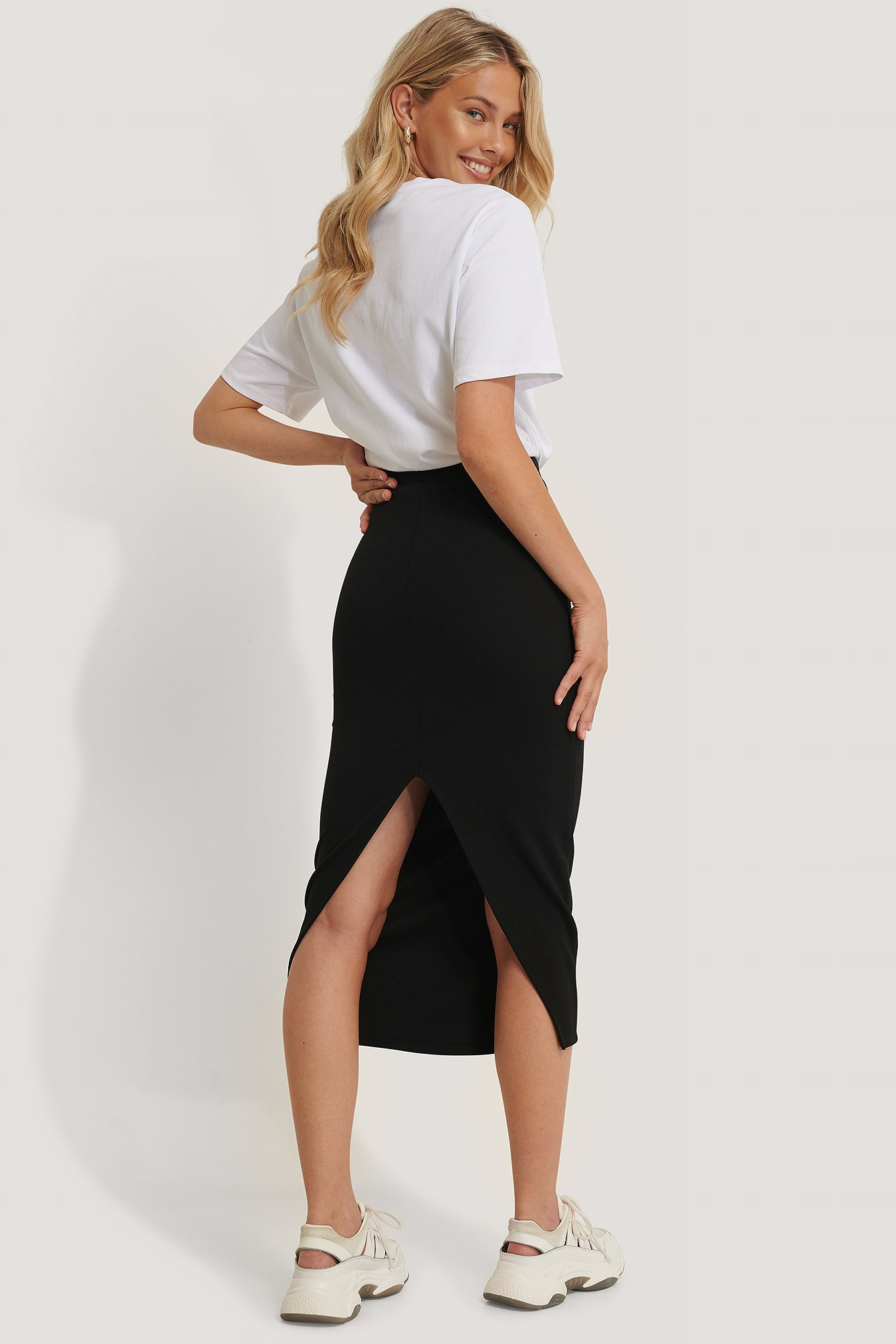 Black High Waist Sharp Cut Midi Skirt