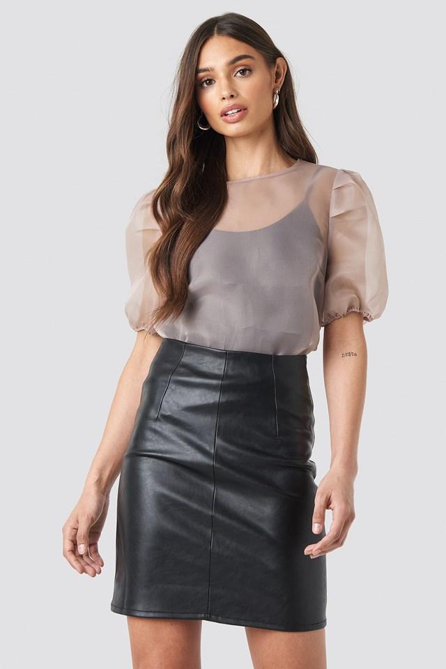 High Waist Short PU Skirt NA-KD.COM
