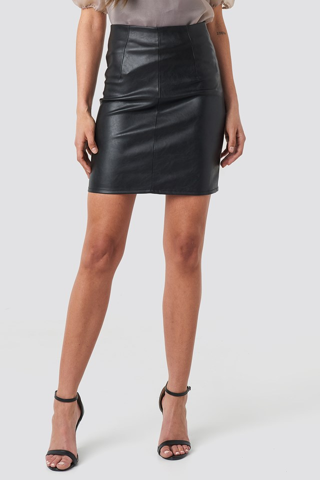 High Waist Short PU Skirt Black