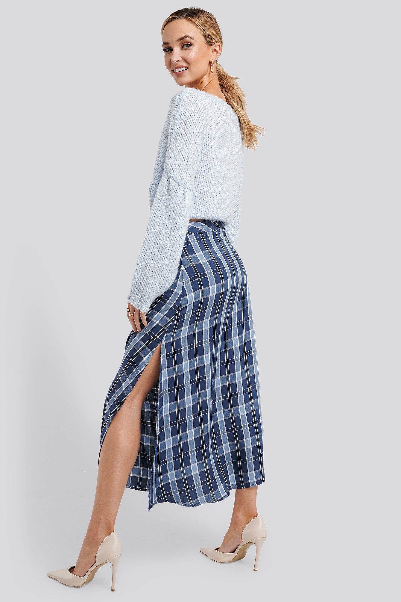Blue Check High Waist Side Split Midi Skirt