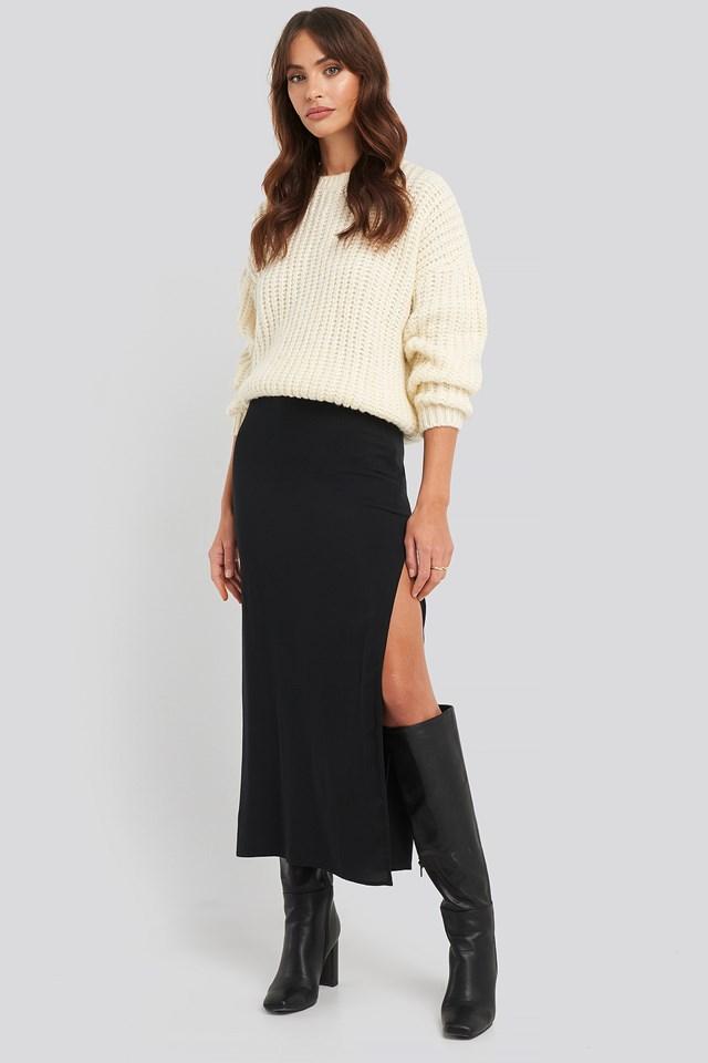 High Waist Side Split Skirt Black