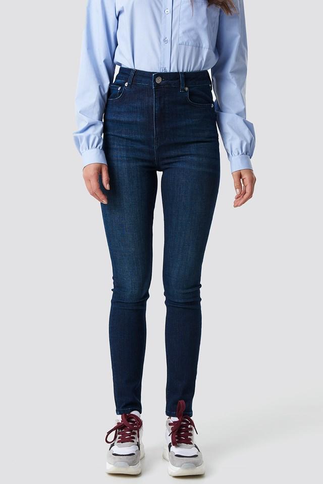High Waist Skinny 5 Pocket Jeans Dark Blue