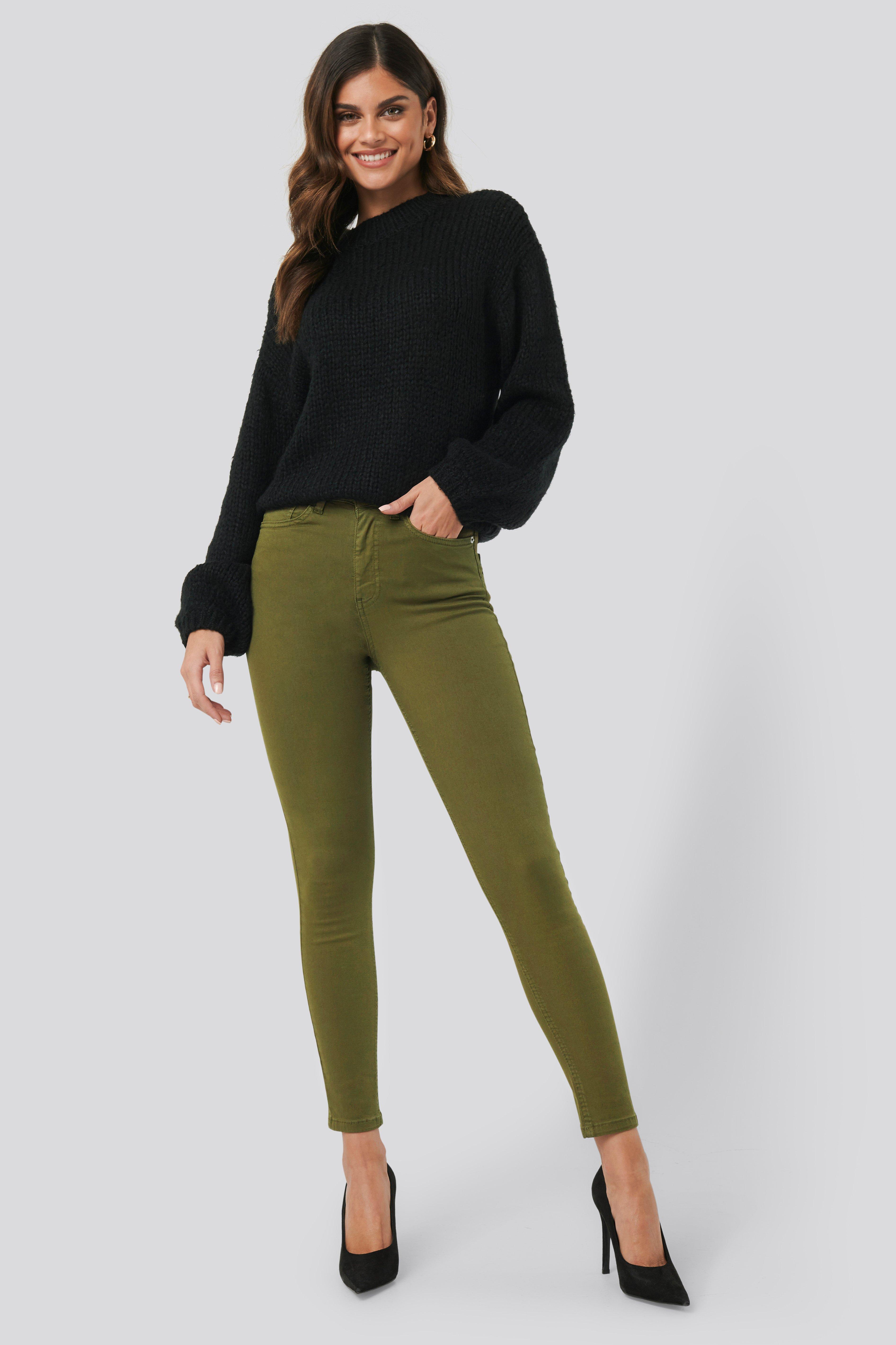 NA-KD High Waist Skinny Denim Jeans - Green