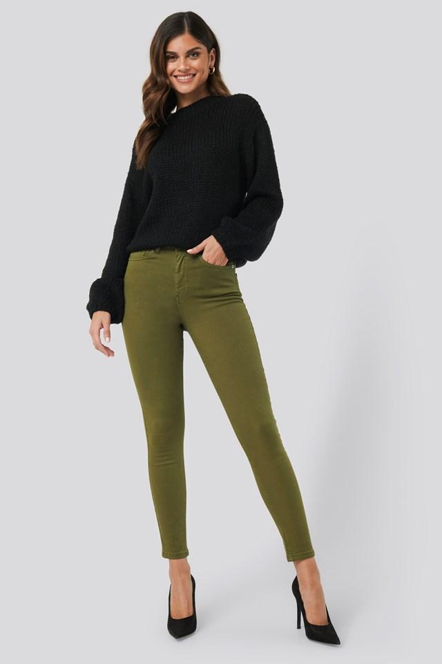 High Waist Skinny Denim Jeans Khaki