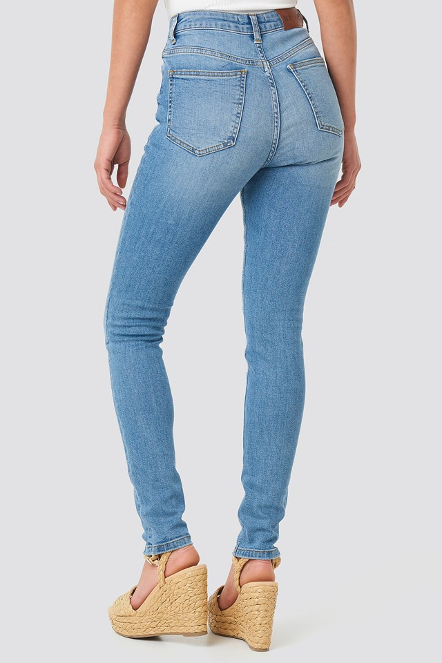 High Waist Skinny Jeans Mid Blue