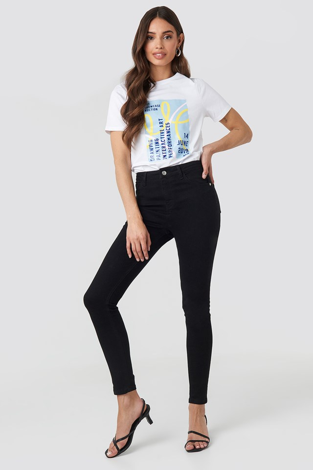 High Waist Skinny Jeans Black
