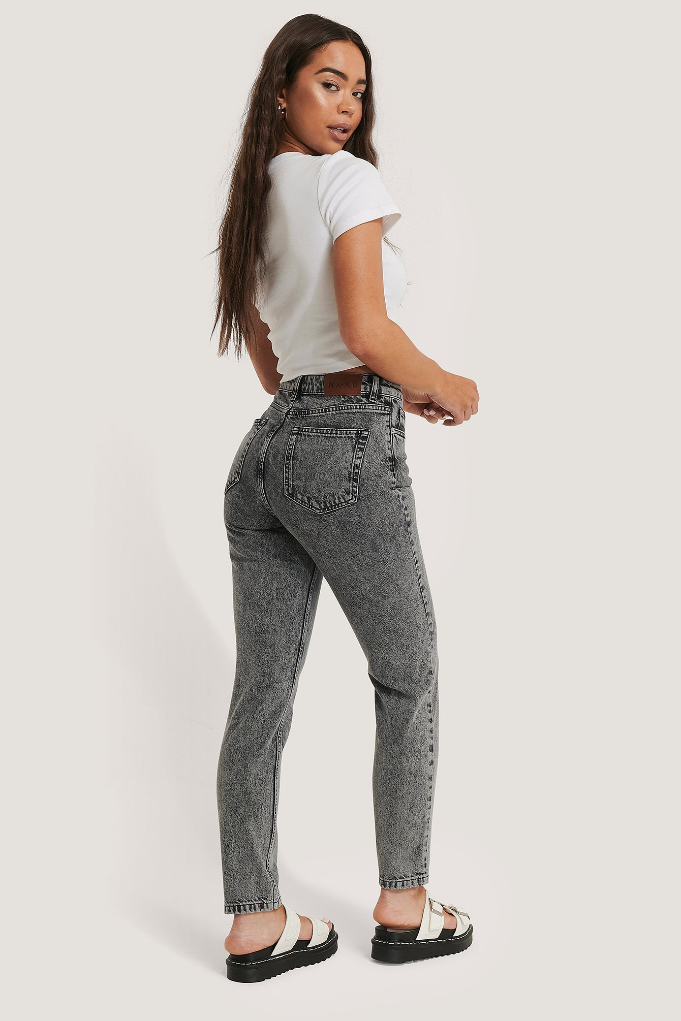 Grey Schmale Jeans Mit Hoher Taille