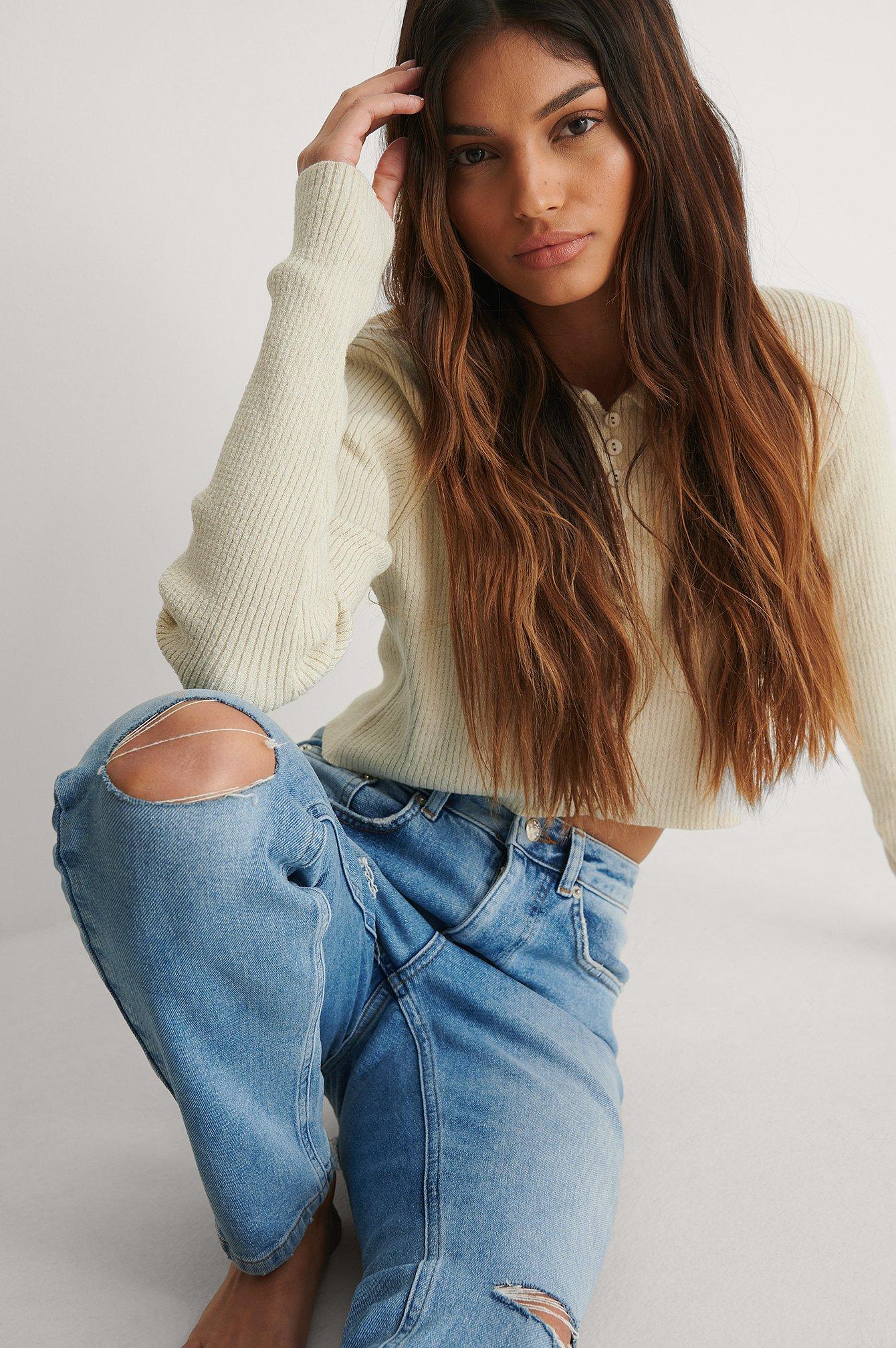 NA-KD Trend Økologiske Højtaljede Slim Jeans Med Hullede Knæ - Blue