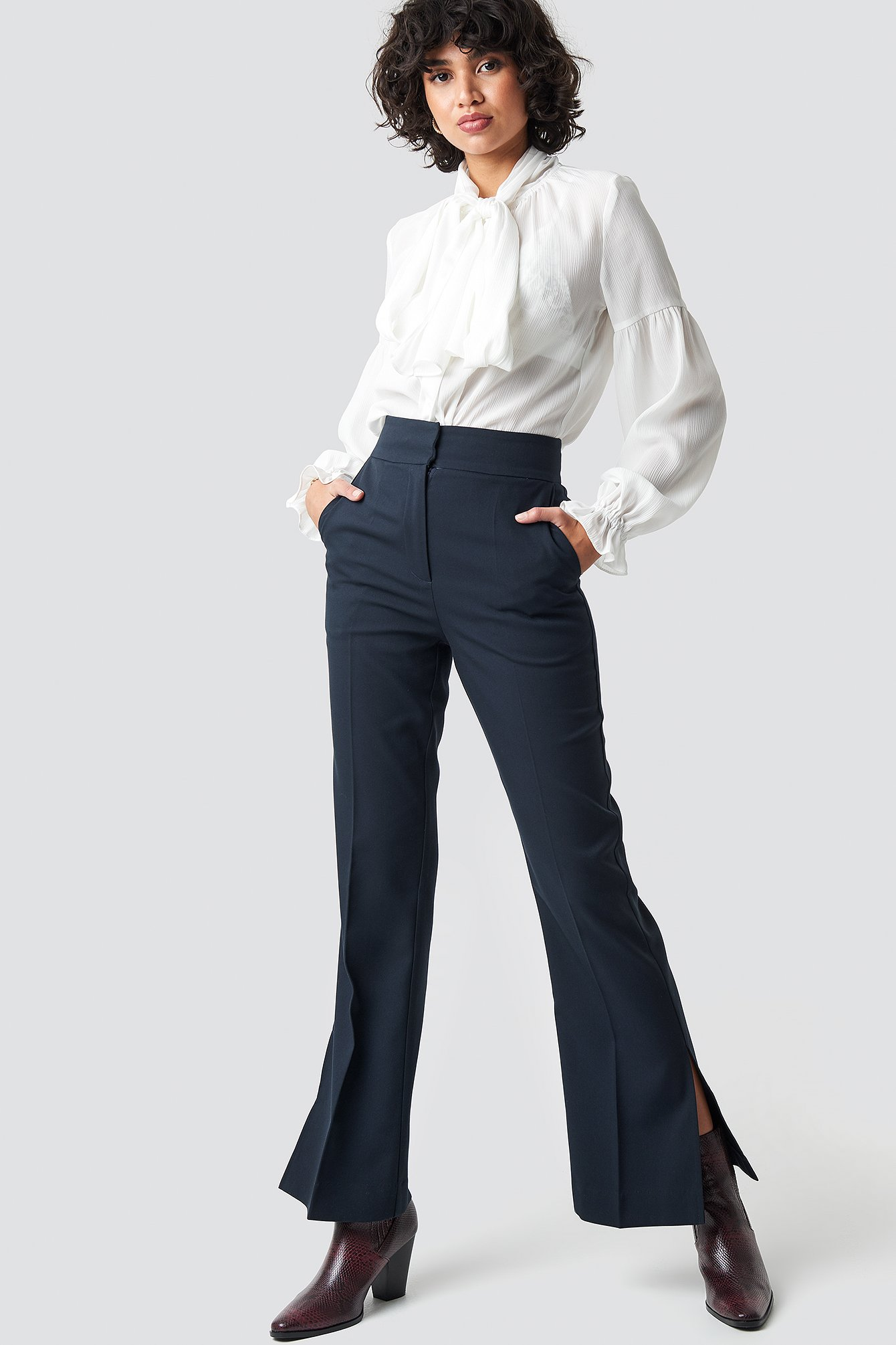 na-kd classic -  High Waist Slit Suit Pants - Blue