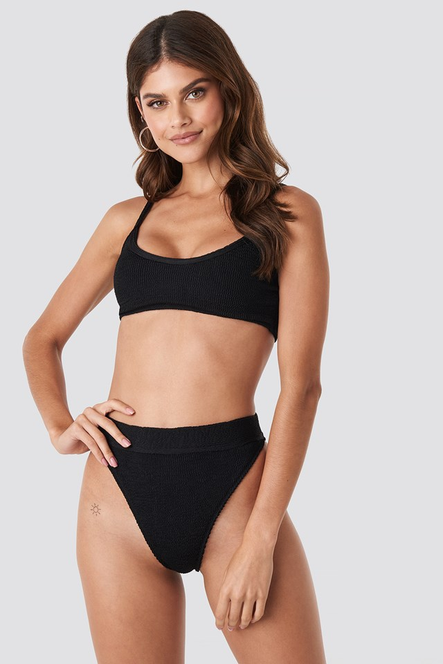 High Waist Smocked Bikini Bottom Black