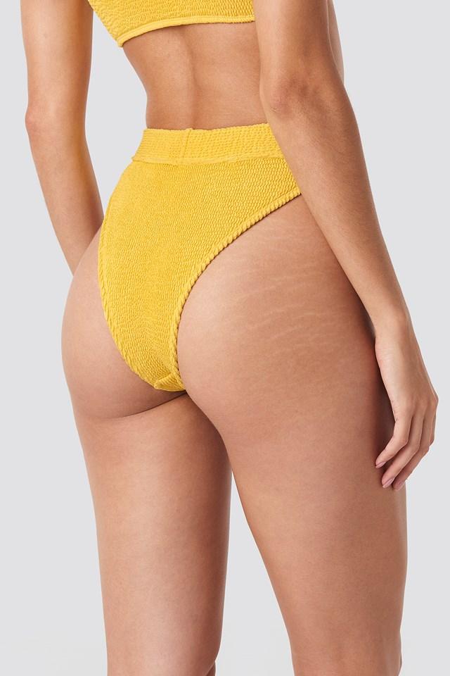 High Waist Smocked Bikini Bottom Yellow