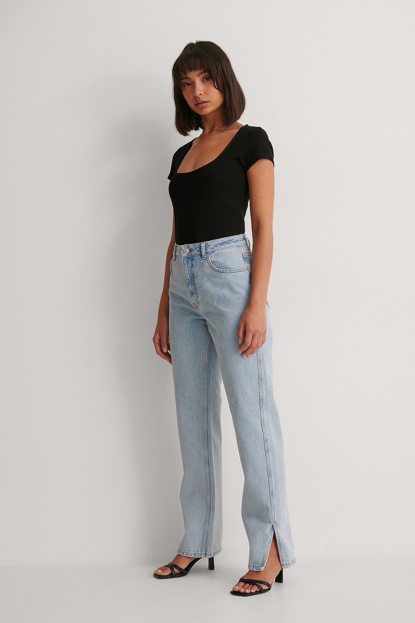 Light Blue High Waist Straight Side Slit Jeans