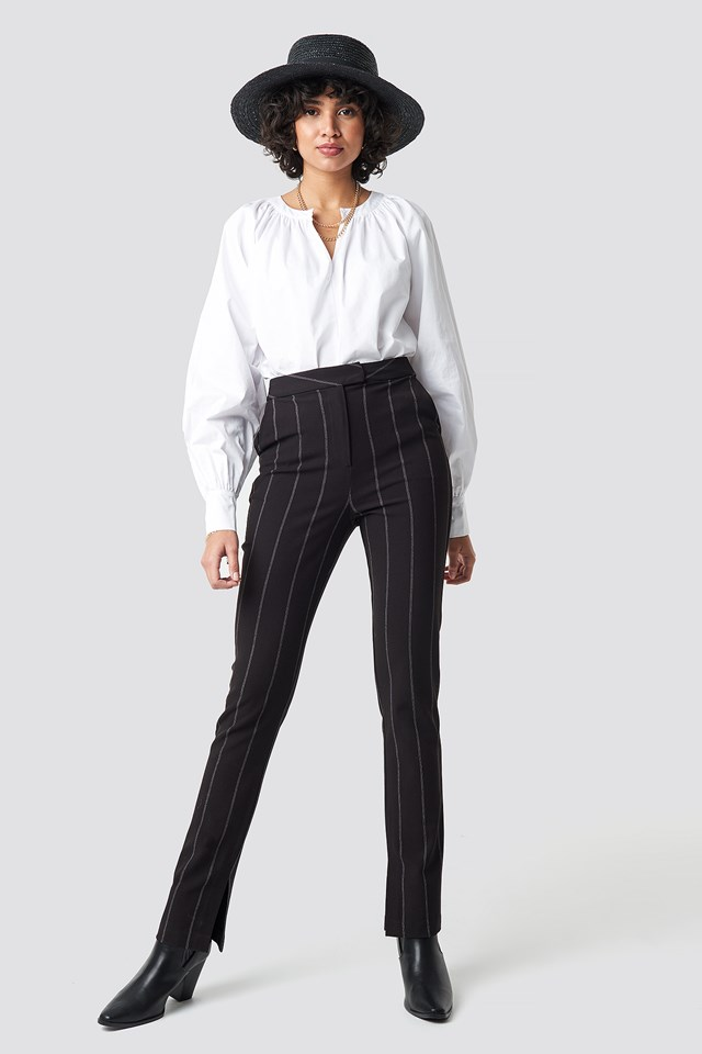 High Waist Striped Pants Black