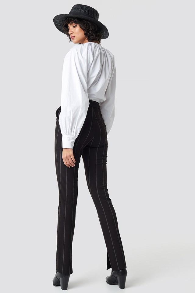 High Waist Striped Pants Black
