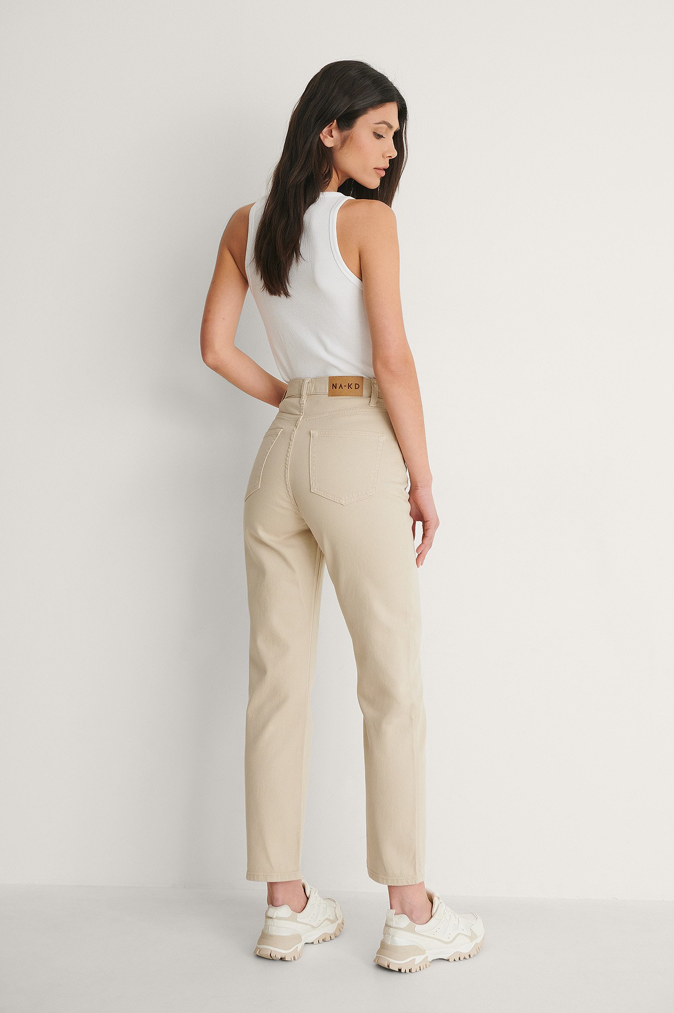 Beige Straight High Waist Jeans