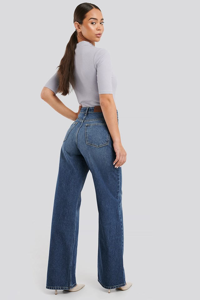 High Waist Straight Jeans Mid Blue