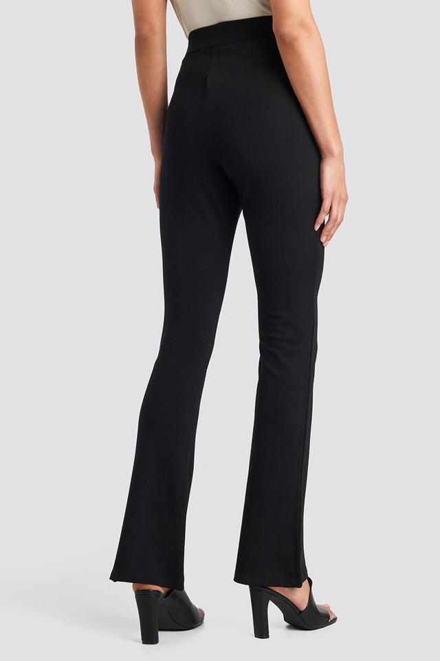 High Waist Straight Leg Jersey Pants Black